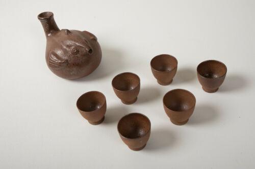 Blow Fish Saki Set (A2L) Pottery Tea Puffer Decanter & Cups Pot Kettle Asian