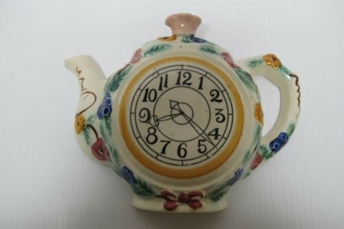 Vtg Hand Painted Ceramic Clock Teapot Wall Pocket Planter~Made in Occupied Japan