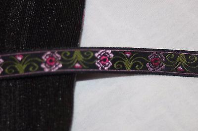 37 yards Black Olive Green pink rose jacquard woven sewing ribbon Trim 1/2