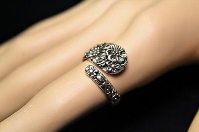 Sterling Silver Floral Spoon Ring Ornate Victorian Flower Theme Ass't Sizes ()