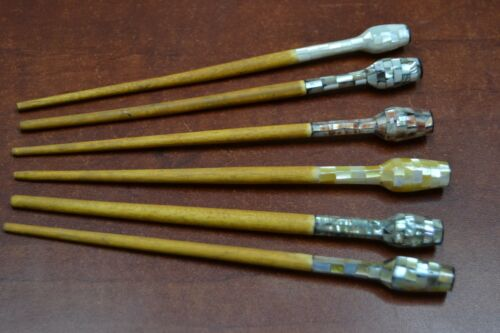 6 PCS ASSORT MOTHER OF PEARL WOOD HAIR STICK PINS #HP-01