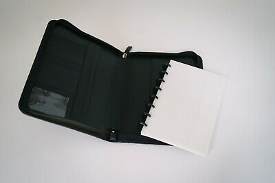 Levenger Black Leather Portfolio Folio Notepad Zip Organizer Planner 10.25 X 8