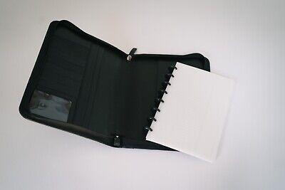 Levenger Black Leather Portfolio Folio Notepad Zip Organizer Planner 10.25 X 8