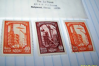 RUSSIA 1956 POSTAGE STAMP SET OF 3 INDUSTRY MNH  LOT 107