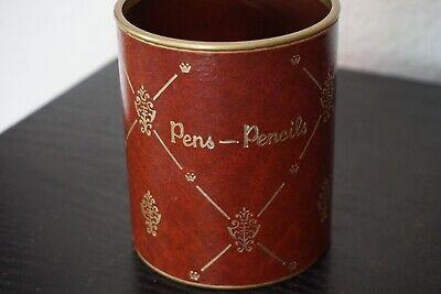 Vintage Red Brown Gold Embossed Look Pens -- Pencils Desk Cup Organizer