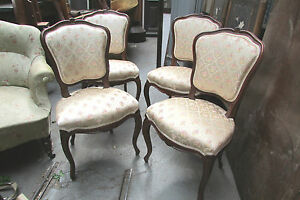 4 anciennes chaises style louis xv en noyer massif tapiss es epoque 1900 ebay. Black Bedroom Furniture Sets. Home Design Ideas