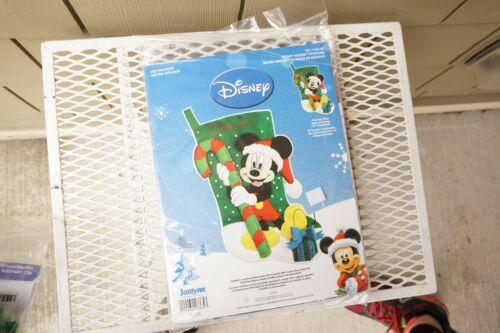 Disney Mickey Mouse Felt Applique Christmas Sock Stocking Janlynn Embroidery Kit