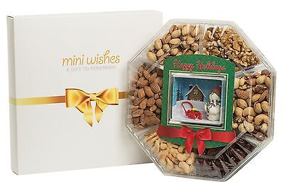 Mini Wishes Fresh Roast Nuts Tray with Holiday Miniatures Insert Top Gift Idea! ()
