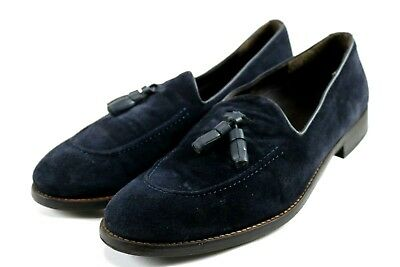 Zara Man Suede Tassel Loafer $120 Men's Slip-On Shoes Size EU 44 US 10 Navy