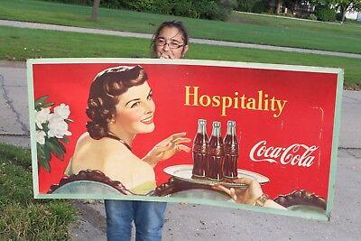 """Rare Large Vintage 1948 Coca Cola Soda Pop Bottle Gas Station 57"""" Sign"""
