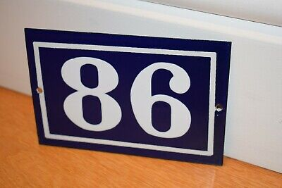 Vintage French Enamel Metal House Sign Number 86 - See Photos