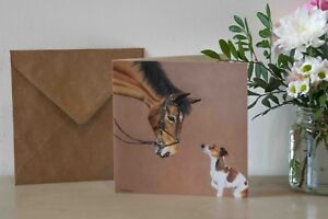 Horse & dog Greetings Card - Jack Russell Terrier Animal Pet Equestrian Birthday