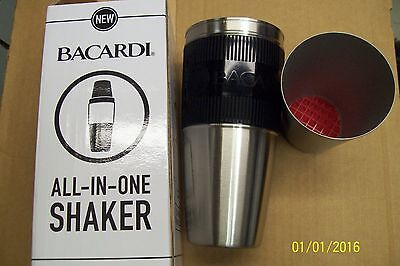 *LOT OF 24* BACARDI COCKTAIL SHAKER BUILT IN MUDDLER & NUBS DRINK LIQUOR