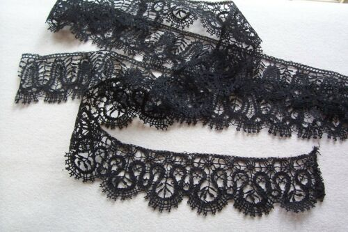 Vtg Antique Victorian Coal Black Silk Trimming Lace  Millinery Dolls Crafts