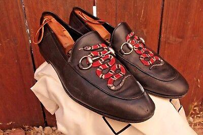 Men's Gucci HorseBit Snakes Brixton Foldable Loafers 10.5 43.5 M D Black Leather