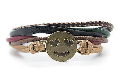 Emoji Armband Smiling Face mit Herz Form Augen Handgemacht ()