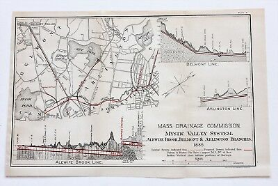 1885 Arlington Massachusetts Map Mystic Valley Belmont Cambridge Alewife RARE