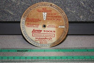 1935 LUFKIN TOOLS ~ Decimal Equivalent ~ SCREW THREADS ~ Tap Drill ~ WHEEL CHART