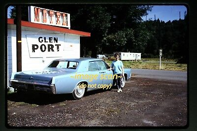 1960's Woman with Lincoln Continental Car at Motel, Original Slide d2a