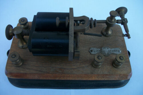 VINTAGE ANTIQUE J.H.BUNNELL & CO. N.Y. 37.5 OHMS TELEGRAPH RELAY COIL.