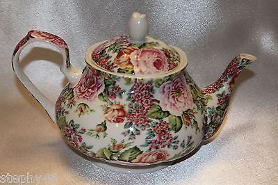FAIRMONT EXPRESS Rose Garden English Rose Chintz Porcelain Tea Party Teapot