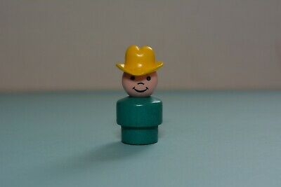 Vintage Fisher Price Little People WHOOPS Boy Wood Turquoise Body Yellow Hat