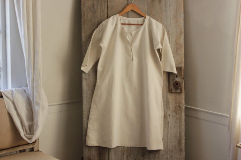 Nightgown Linen Night Dress French simple white smock softly worn c1900 monogram