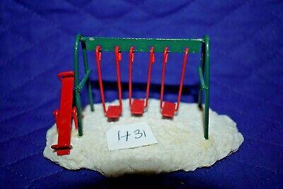 "Estate=Christmas=Train Village:H31 Metal Swing Set and Slide 2-1/2""T x 4"" LOOK"