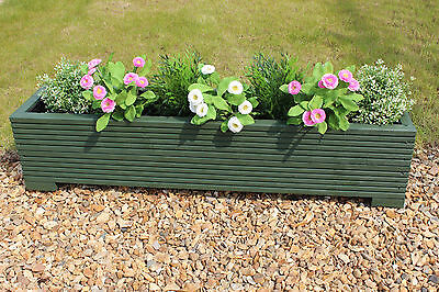 Green 100x22x23 (cm) Wooden Garden Trough Planter or Plant Pots