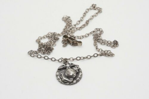 WWII Sterling USMC EGA Home Front Sweetheart Pendant & Necklace Chain