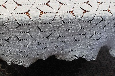Vintage Huge Ivory Cotton Hand Crocheted Tablecloth 57x82