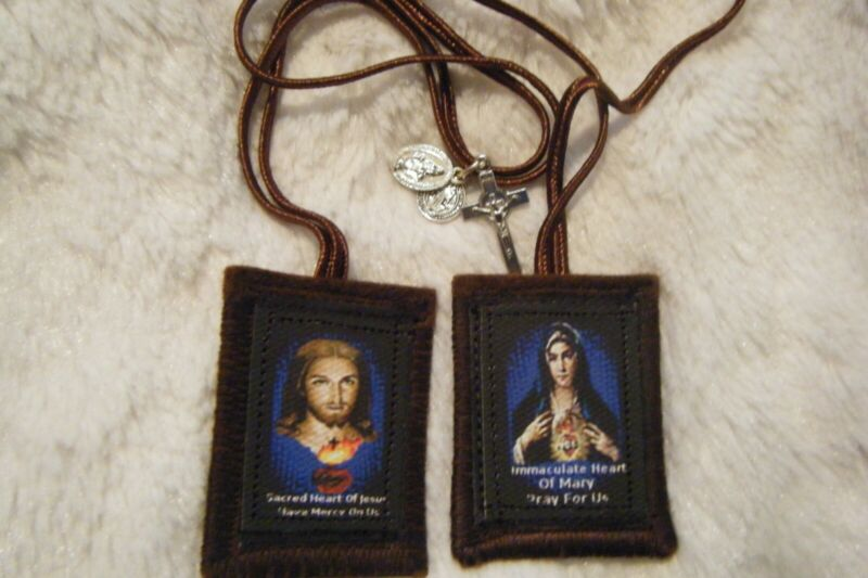 Sacred Hearts of Jesus and Mary Brown Scapular 100%Wool Handmade in USA