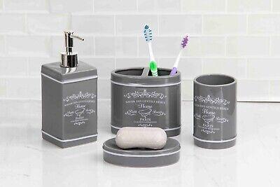Home Basics NEW Grey Paris Collection 4 Piece Bathroom Accessory Set - BA41274 ()