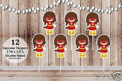 Cheap Cupcakes (Set of 12 Girl Flash Inspired Action Superhero Double Sided Cupcake)