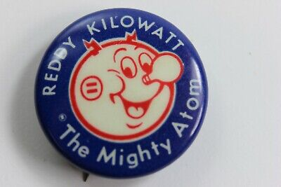 Vintage 50's Reddy Kilowatt THE MIGHTY ATOM - Advertising Pin Back Button