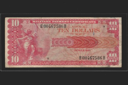 1968 - 1969 Series 661 MPC $10 Military Payment Certificate Ten Dollars