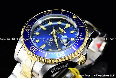Invicta Men's 47mm Grand Diver Automatic Two Tone Blue Dial Gold Case SS Watch (Gold Two Tone Case)