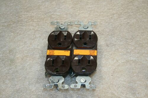 2 (TWO) Vintage GE  Double Electrical Wall Outlet Brown 15A 125V
