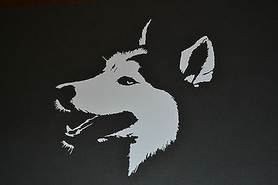 SLED DOG SPIRIT WHITE HUSKY FACE  STICKER DECAL SIBERIAN DOGS HUSKIES MUSH SIBES