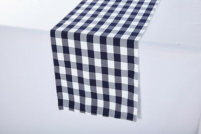 14 x 108 inch Polyester Table Runner Navy and White Gingham Picnic Checkered (Navy Table Runner)