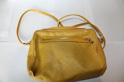 Vintage GUCCI GG Canvas Yellow Leather CrossBody Shoulder bag