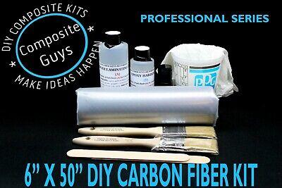 Diy Carbon Fiber Fabric Kit 6 X 50 1x1 Plain Weave Skinning Laminating Auto Rc