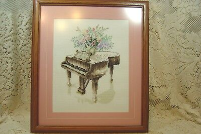 GRAND PIANO FINISHED CROSS STITCHED FRAMED & MATTED PICTURE WOOD FRAME