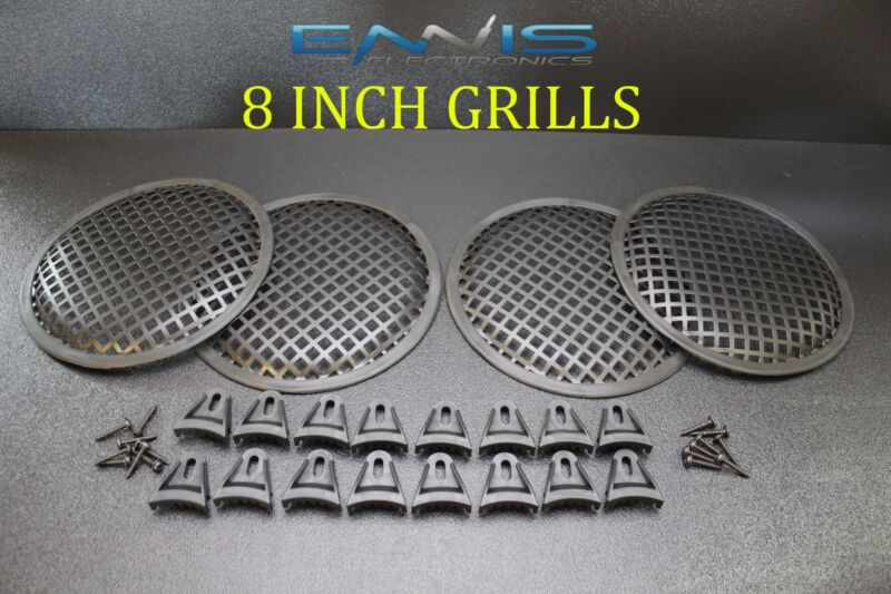 (4)  8 INCH STEEL SPEAKER SUB SUBWOOFER GRILL MESH COVER W/ CLIPS SCREWS GLKT-8