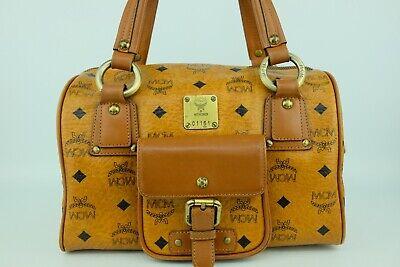 100% Authentic MCM Cognac Front Pocket Boston Hand Bag