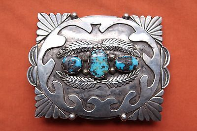 Vintage Hand Made Sterling Silver Turquoise Native American Western Belt Buckle