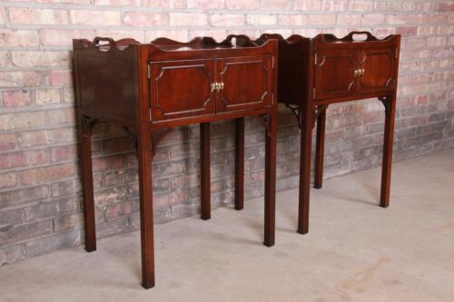 Councill Chippendale Carved Mahogany Nightstands, Pair