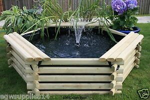 Wooden garden pond ebay for 90 gallon pond liner