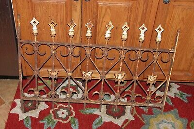 Antique Gothic Wrought Iron Fence Cross Arrow Finials Cemetery Fence Garden Wrought Iron Garden Fencing