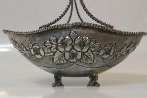 Vtg. Handmade Sterling Handled Footed Basket W/ Repousse Hand Hammered Pattern